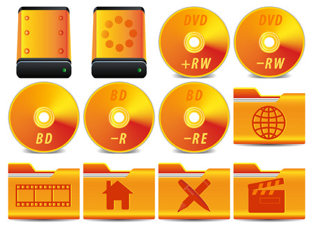 gold icon for operation system set 3 of 4 Stock Vector - 5302170