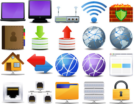computer and network icon set of 20