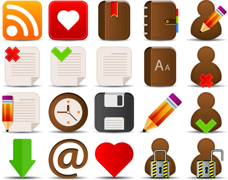 Internet and blogger icons set of 20