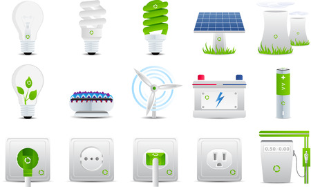 electric meter: Energy and electricity set 15 icons Illustration