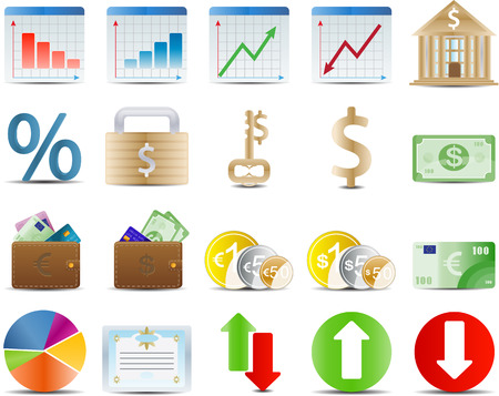 finance stock and economy set of 20 icon Illustration