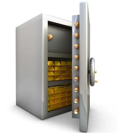 Safe with gold bar on white background