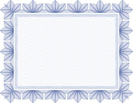 Vector secure blank guilloche certificate Vector
