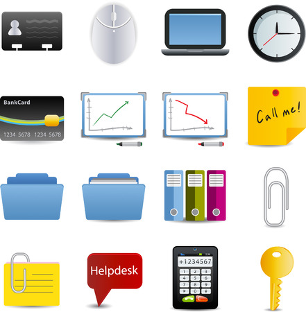 bank records: Business and office set of 16 icons Illustration