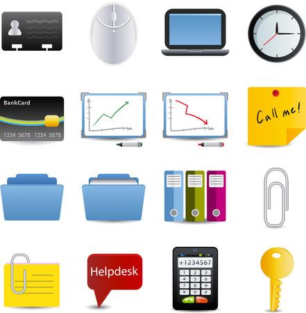 superacion personal: Conjunto de negocios y de la Oficina de iconos de 16
