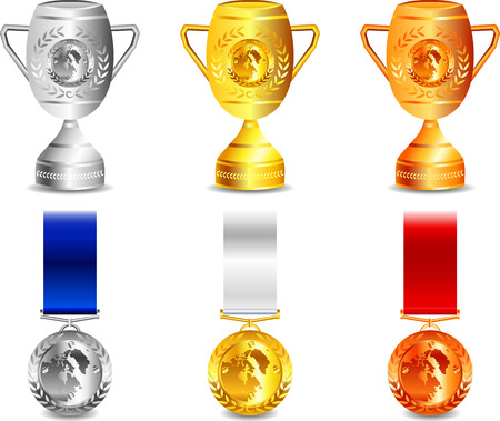 Medals and Winner Cup, Gold, Silver And Bronze Vector