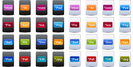Document and File Type Icons set Illustration