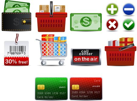 shoping set of 10 icons part 1 Stock Vector - 6840256