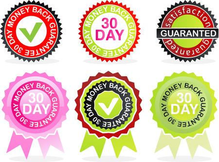 Guarantees sign set of 6 icons