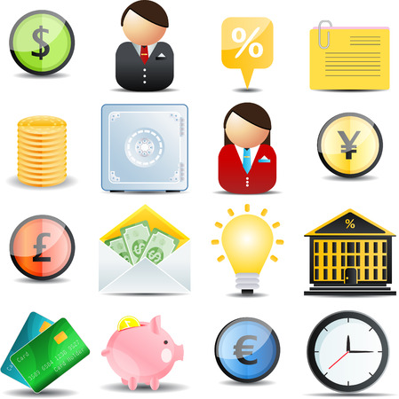 16: Finance  color web set  of 16 icons Illustration