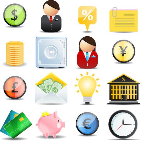 Finance  color web set  of 16 icons Illustration