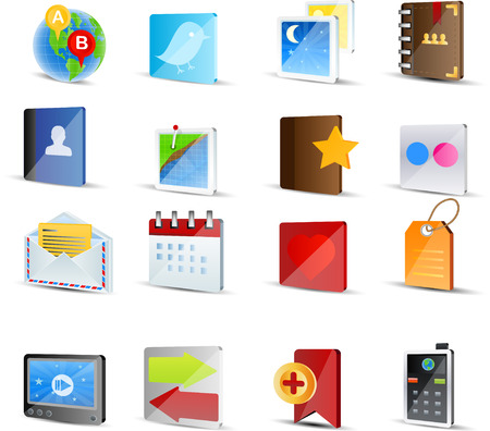 star icons: Icon set for Social Media -16 colorfull 3d icon Illustration