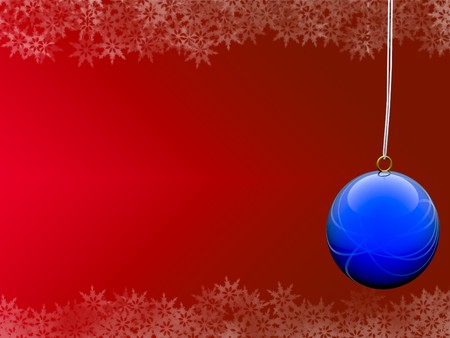 blue ball on blue background with snowflake borders photo