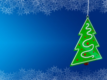 Christmas tree on blue background with snowflake borders