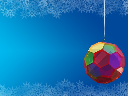 crystal ball on blue background with snowflake borders