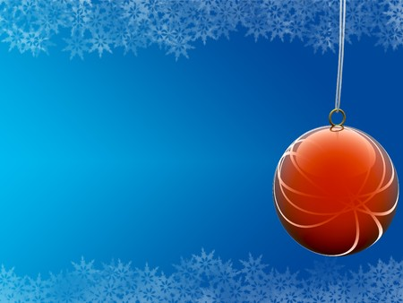 red ball on blue background with snowflake borders photo