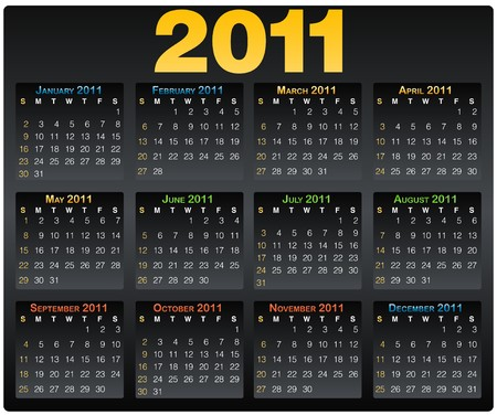 Calendar grid 2011 year english layout black photo