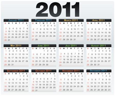 Calendar grid 2011 year english layout light photo