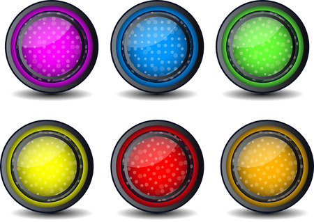 glossy web button set of 6 color glosy icon Vector