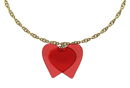 2 transparent bound hearts with a gold chain on white background isolated