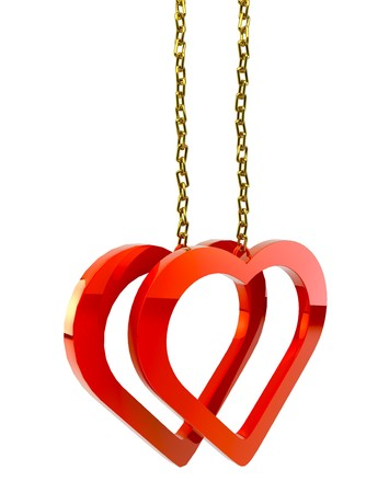 small group of objects: Two bound  hearts with a gold chain on white background isolated Stock Photo