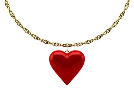 one hearts with a gold chain on white background isolated photo