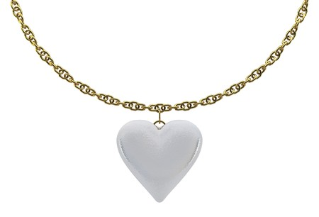 Pearl one hearts with a gold chain on white background isolated