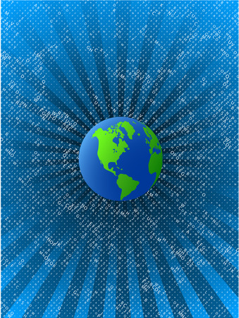 Blue grean planet with space of letters  background  Vector