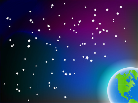 Blue grean planet on colorfulspace background