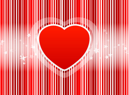 Heart with stripes red background and with star