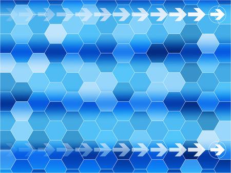 六角形と矢印の付いた青い通信背景