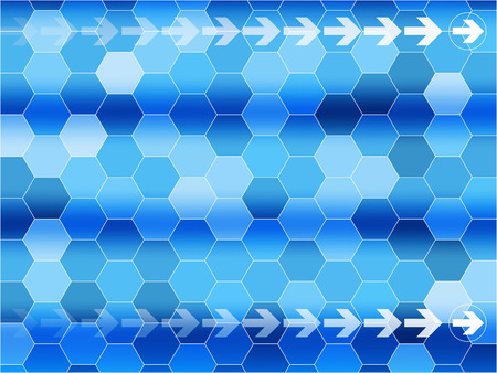 world  hexagon: Blue communications background with arrows and Hexagon