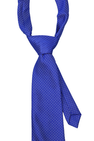 elastic garments: Blue tie with a knot on a white background Stock Photo