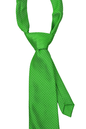 elastic garments: Green Necktie isolate on white background