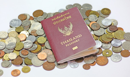 Thailand passport on international coin