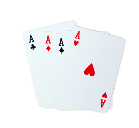 four aces poker playing cards isolated on white background Stock Photo