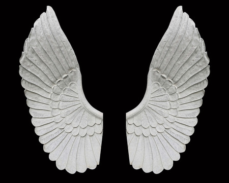 weeping angel: angel wing isolated on black background Stock Photo