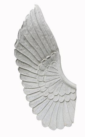 weeping angel: Detail of an angel wing statue isolated on white background Stock Photo