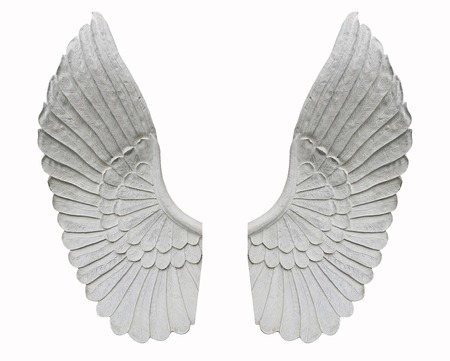 weeping angel: angel wing isolated on white background Stock Photo