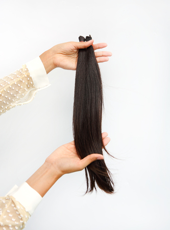 hairline: Donate hair to cancer patient white background isolated