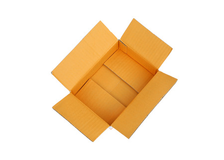 open cardboard box isolated on a white background Stock Photo