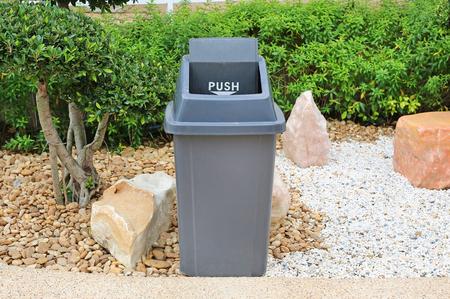 Gray Bin for general waste at public garden