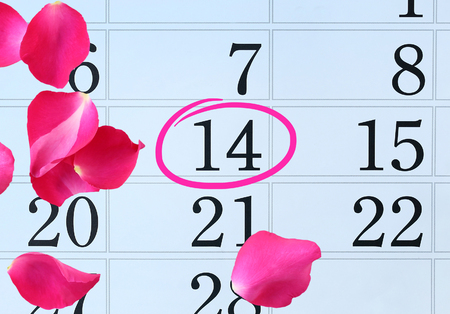 Calendar page with pink petals rose and pink circle mark on February 14 of Saint Valentines day.