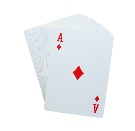 straight flush: aces poker diamomds card on pile of playingcards isolated on white background