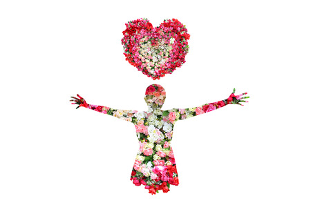 arm bouquet: Female and Roses flower in double exposure on rose background, Valentines day or love concept. Stock Photo