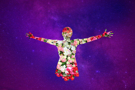 macrocosm: Female and Roses flower in double exposure on universe background, Valentines day or love concept. Stock Photo