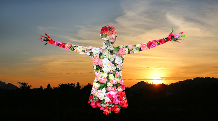 arm bouquet: Female and Roses flower in double exposure on sunset background, Valentines day or love concept. Stock Photo