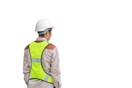 Achtermening van Mannelijke bouwvakker die op witte achtergrond wordt geïsoleerd