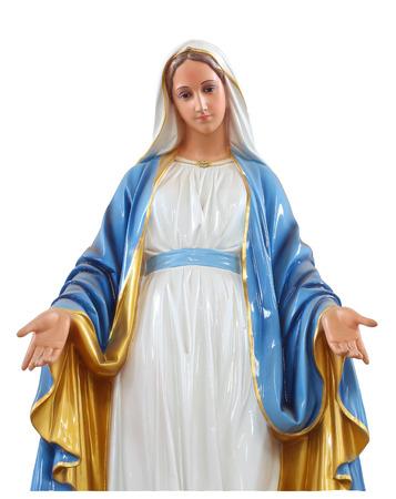 白い背景に分離されたローマ カトリック教会の神聖な女性の像 写真素材