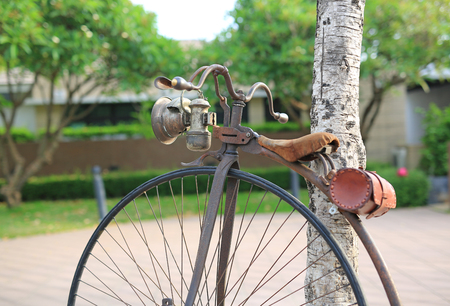 road bike: Retro bicycle with large front wheel in public park.